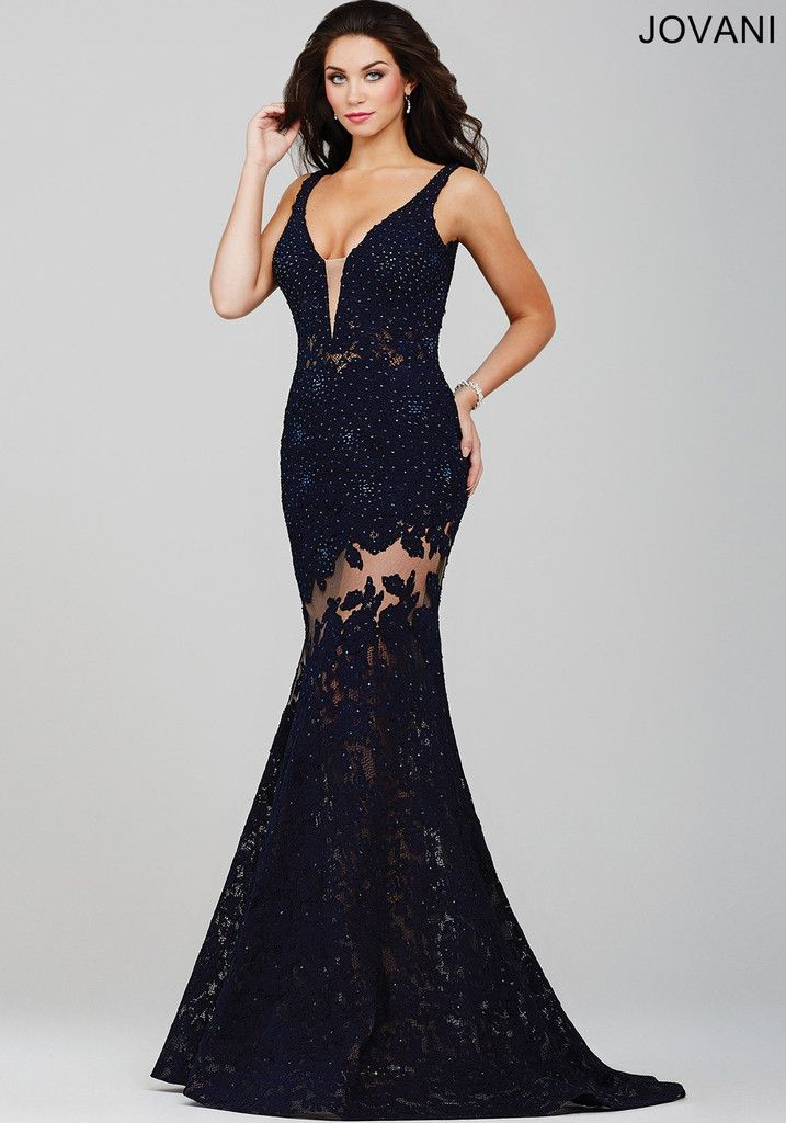 Jovani 36074 In Stock NAVY SZ 6 Lace Illusion Prom Pageant Dress Evening Gown. Glamorous lace evening gown that sparkles with AB crystals and has sheer illusion peek-a-boo panels. It is available in N
