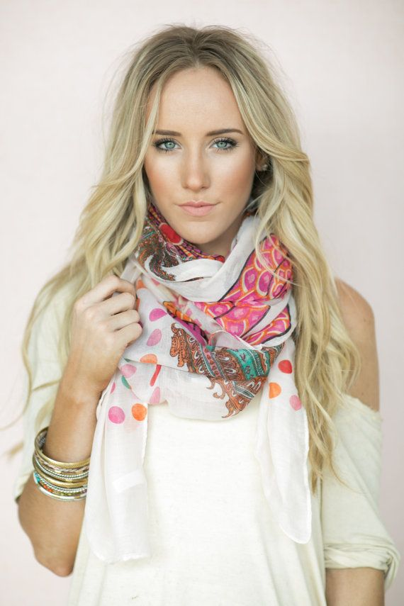 Refresh Scarf, Fashion Scarves, Paisley Boho Scarf, Traditional & Infinity Scarf Polka Dot and Paisley Pink Print with Soft Orange (SCF-83) on Etsy, $48.00