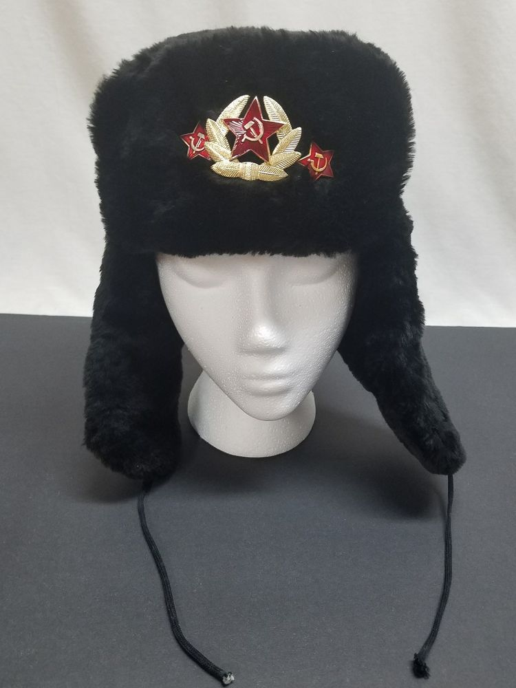 ac841ed451a0b Russian Ushanka Gray Military Hat w  Soviet Red Army Badge