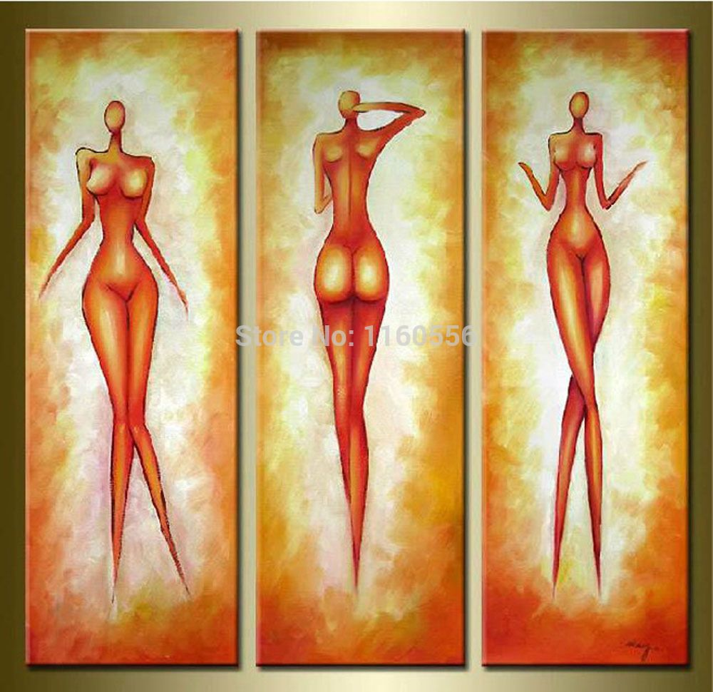 High Quality Oil Painting 3 Pieces Set Modern Abstract Yellow Sexy ...