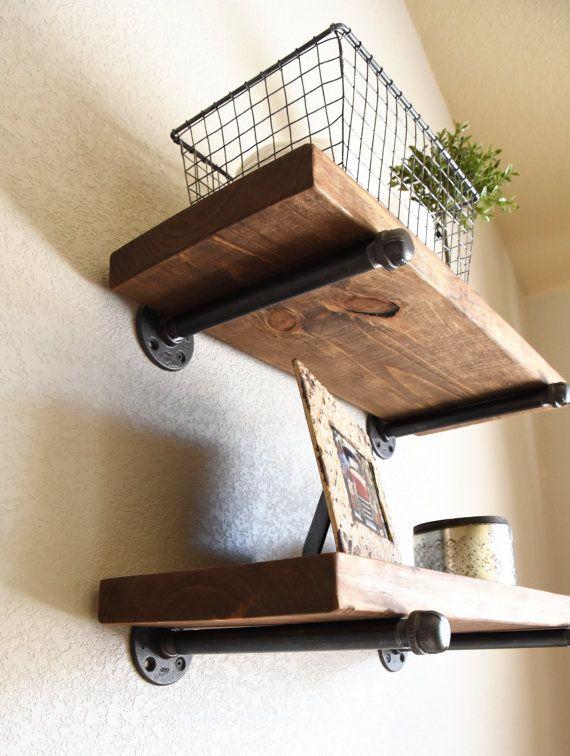 Many Sizes Industrial Floating Shelf Rustic Shelves Wood