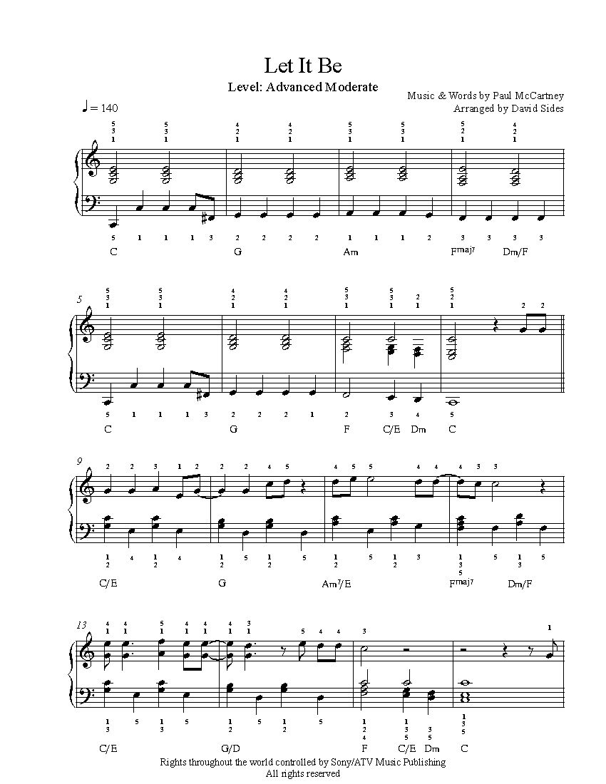 This is a graphic of Intrepid Let It Be Piano Sheet Music Free Printable