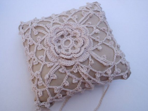 Wedding Lace Ring Bearer Pillow pin cushion Handcrafted Crochet by