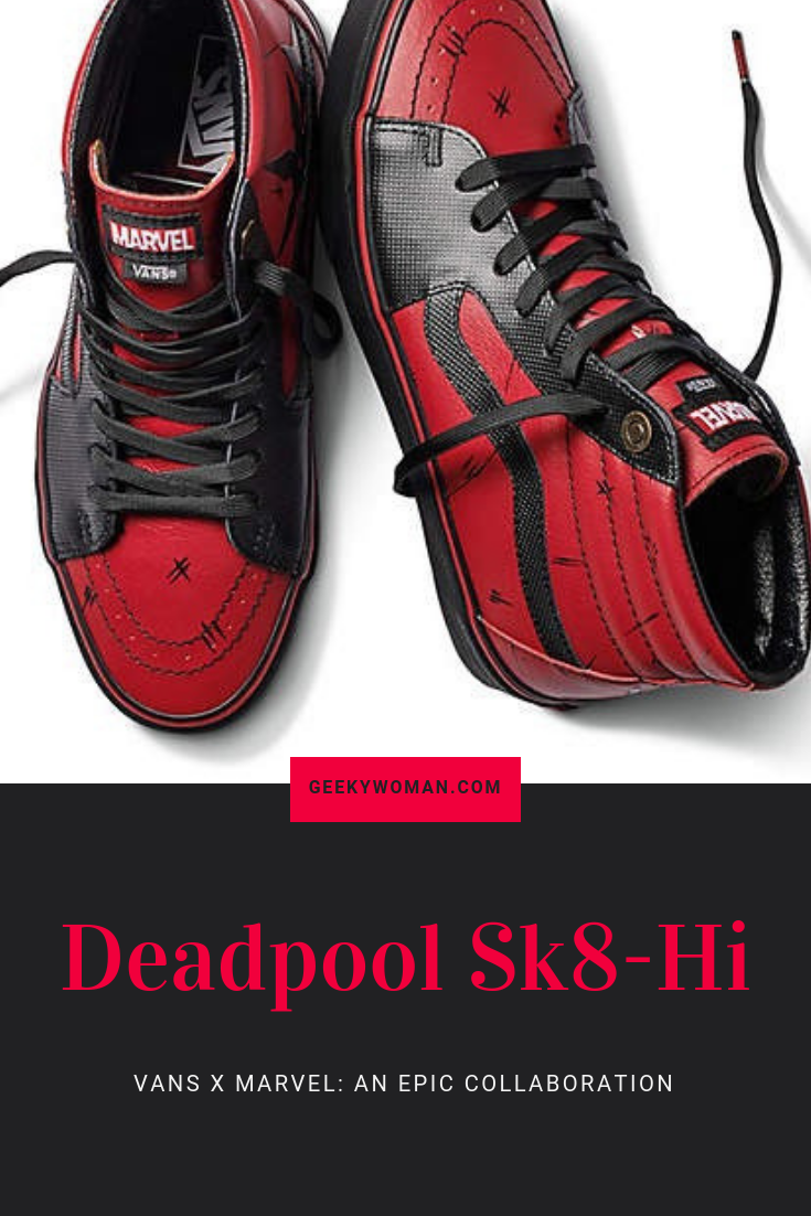c14c6c25d9a Get your red-hot  Deadpool Sk8-Hi high tops and make your feet look awesome  again. A Vans and  Marvel collaboration.  Affiliate link