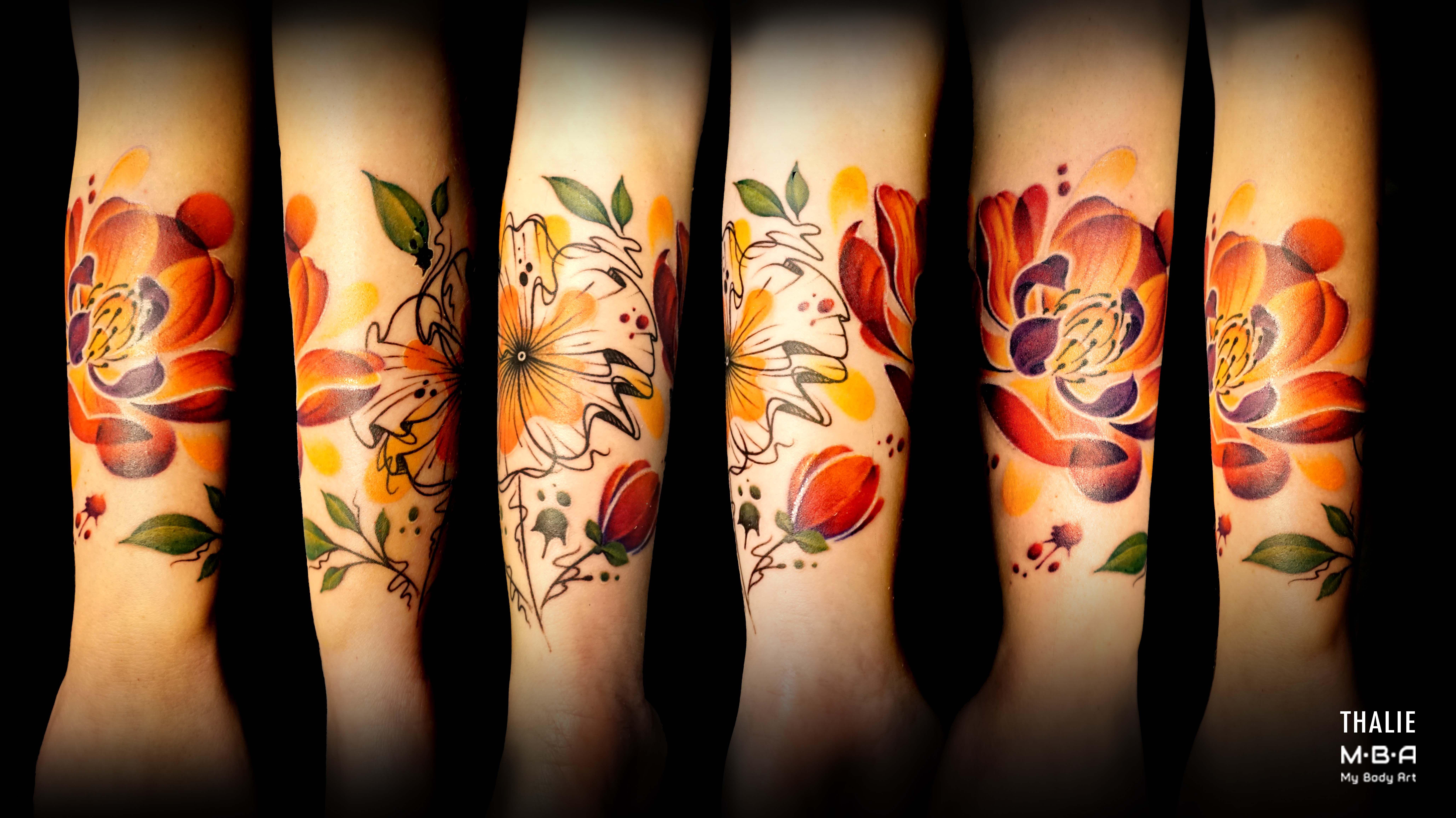Tatouage En Tour De Bras D Une Composition Floral Realise En Style