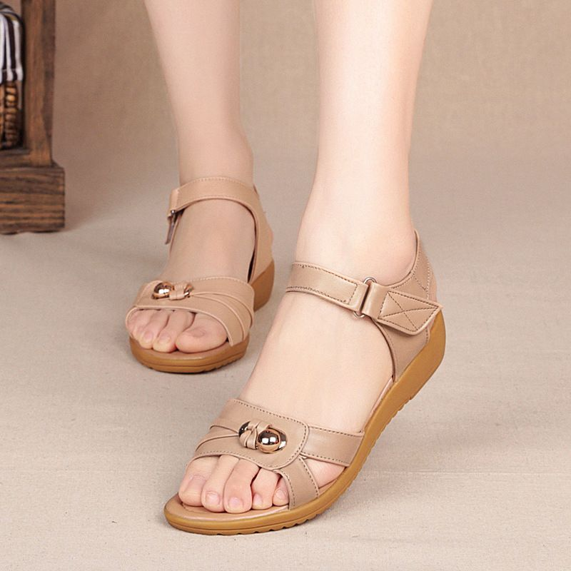 7056bf5c42d Large Size 40 43 Summer Shoes 2017 New Middle aged Sandals Genuine Leather  Flat Shoes Female Sandals Women -in Women s Sandals from Shoes on  Aliexpress.com ...