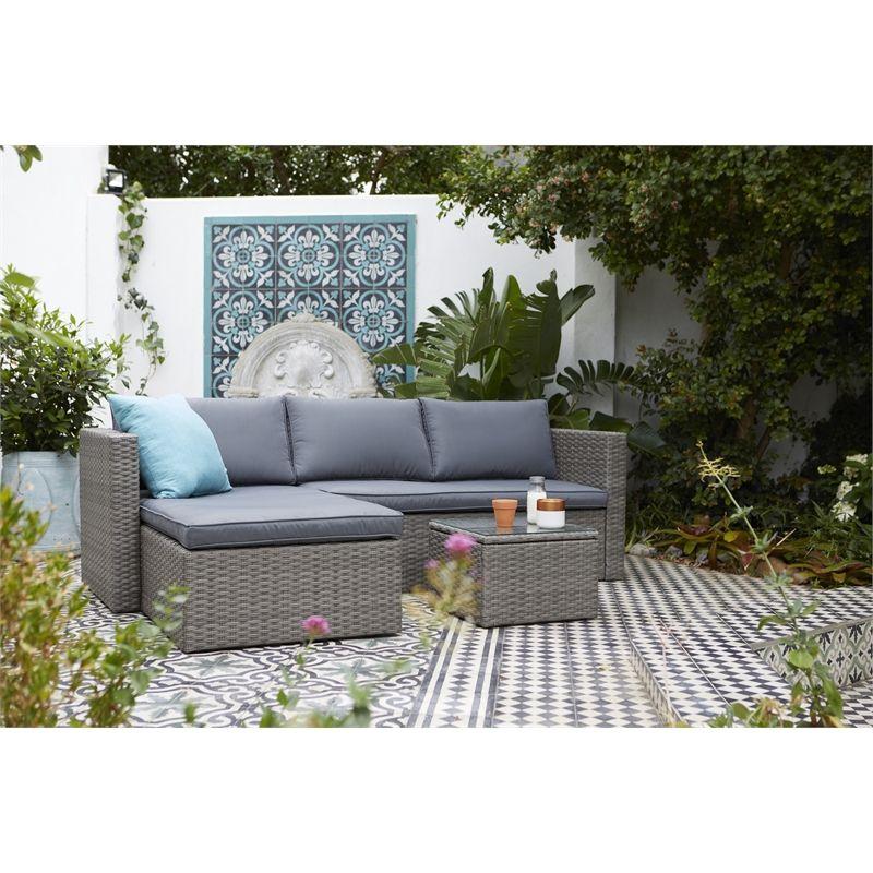 Alexandria Rattan Effect 3 Seater Corner Garden Sofa Set At Homebase Co Uk Garden Sofa Set Corner Sofa Garden Garden Sofa