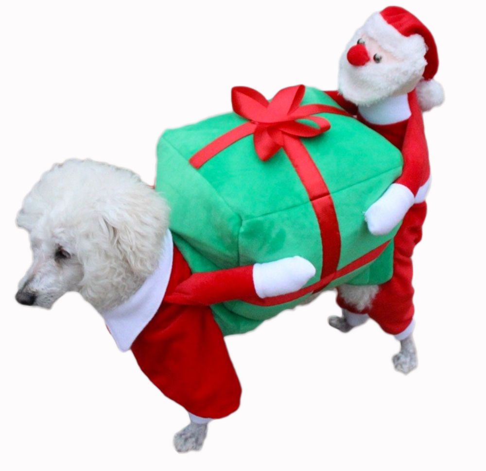 Small Pet Dog Cat Santa Claus Carry Gift Outfit Jumpsuit Costume