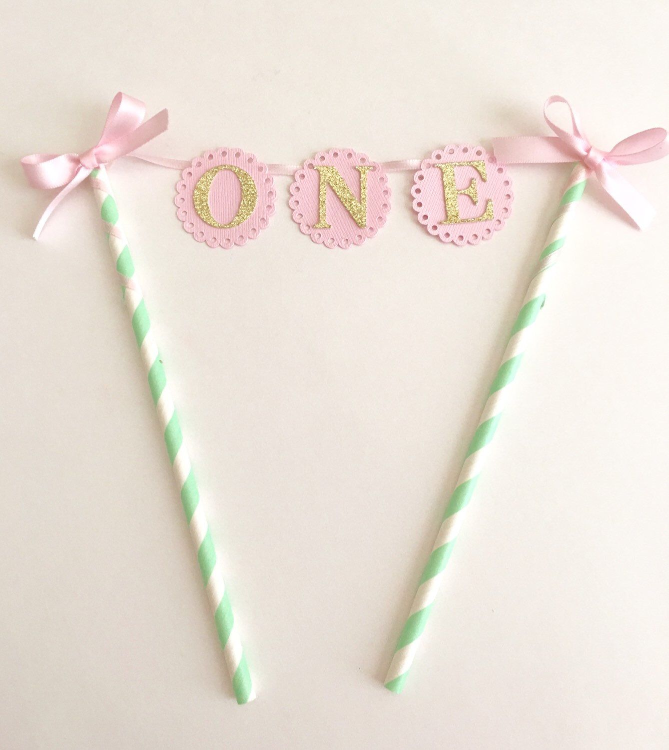 Pink mint and gold first birthday cake topper st birthday cake
