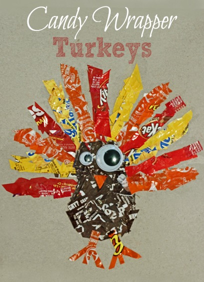 Candy Wrapper Turkey ~ Simple Thanksgiving craft