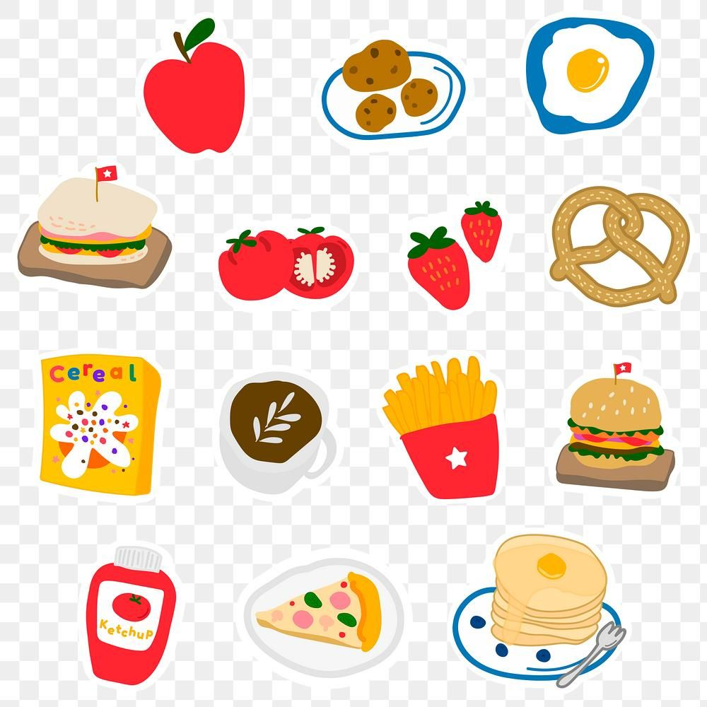 Cute Food Doodle Sticker With A White Border Design Element Set Free Image By Rawpixel Com Mind Sticker Collection Cute Stickers Doodles