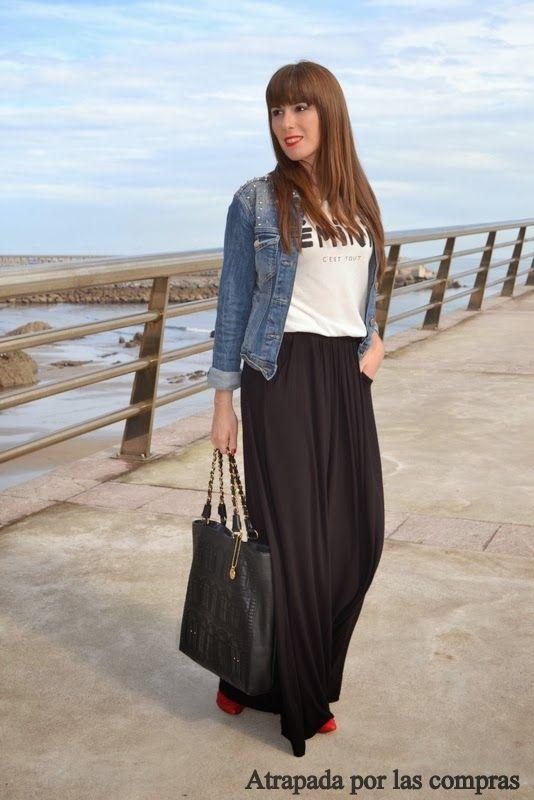 9d9eba035 Cómo combinar una falda larga | My Style | Faldas largas, Falda ...
