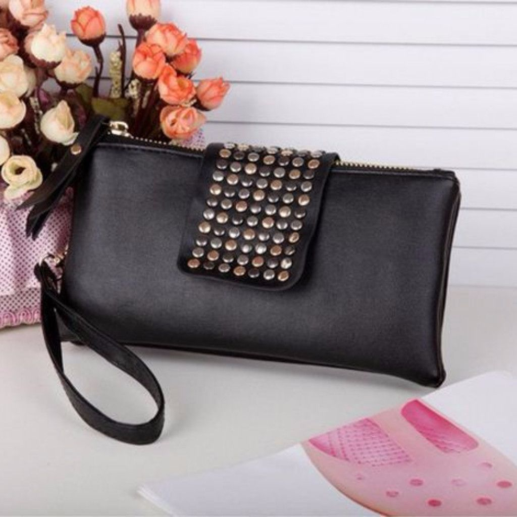 This bag is stylish and fashionable. Features doubled zippered pocket, metallic bead accent, and wrist strap. This is made of high quality PU Leather material. Features 100% brandnew. This clutch bag