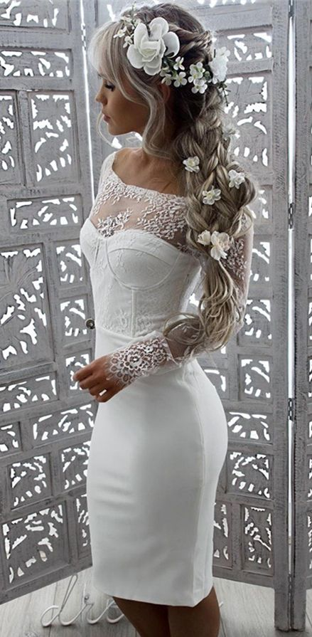 Tight Dresses Off The Shoulder Dresses Short White Dresses Prom Dresses 2017 Lace Sleeves Dresse Lace Beach Wedding Dress Tight Dresses Lace Dress With Sleeves