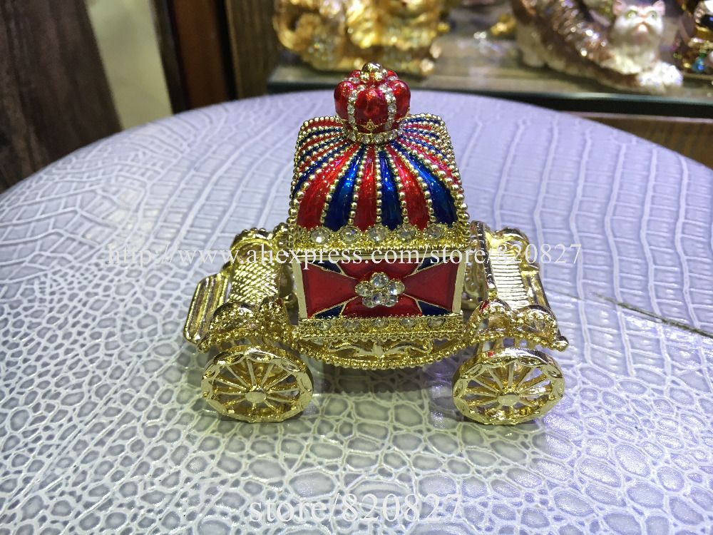 Newest Carriage Jewelry Trinket Box Figurine Cinderella Pumpkin