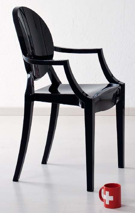 Sedia con braccioli tipo Kartell 01. Sedia da salotto trasparente ...