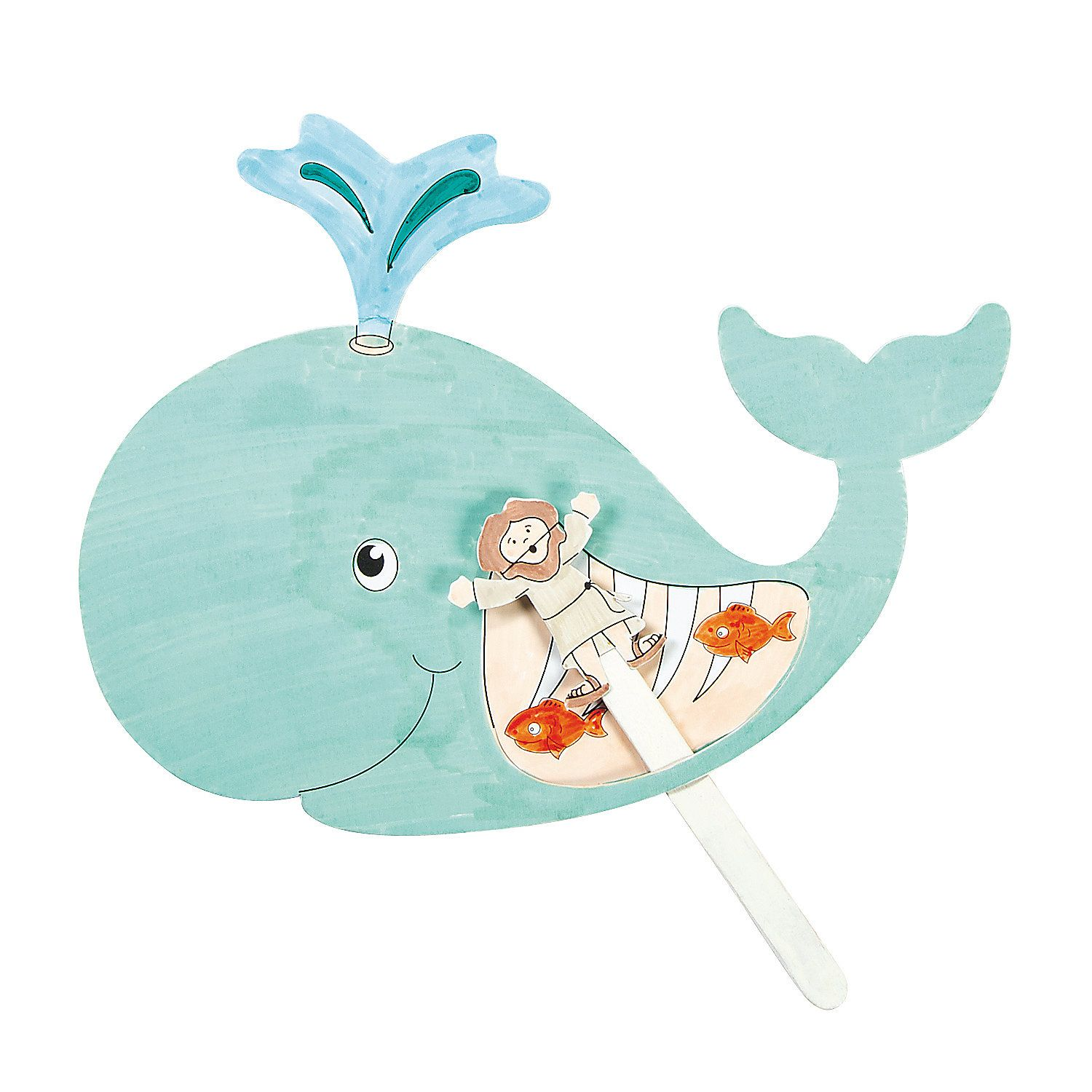 Color Your Own Jonah The Whale Pop Up Puppets Craft Kit Vbs