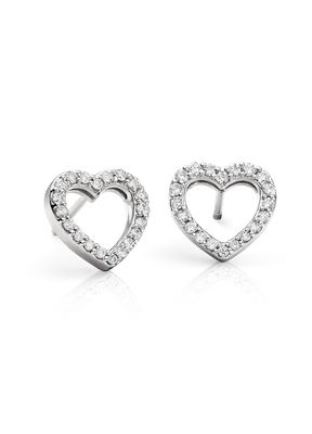 Brilliant And Sweet These Mini Stud Diamond Earrings Feature Pee Round Diamonds In An Open Heart Design Of 14k White Gold