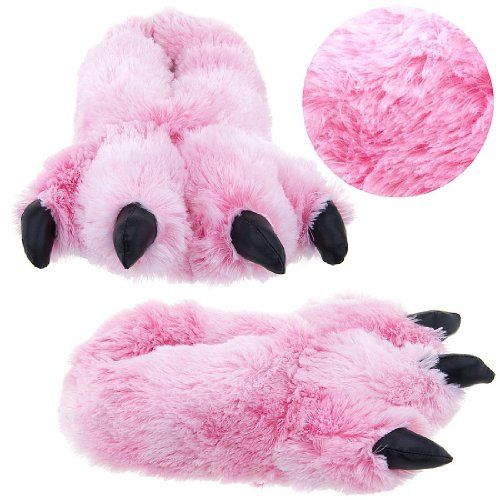 I want these in blue   Wishpets Pink Fuzzy Bear Paw Animal Slippers for Women and Men Medium | Active Life Essentials - Funny T-shirts