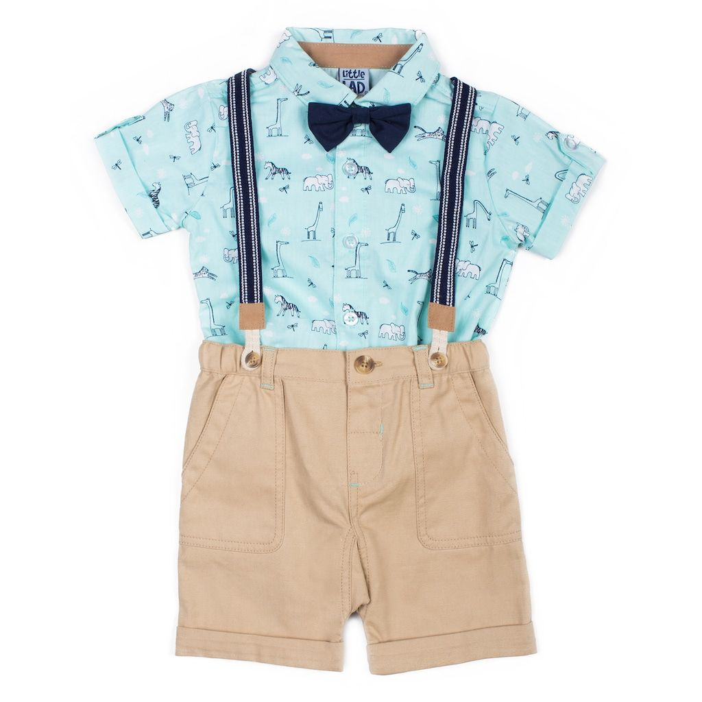 2c2ee334d8fd Baby Boy Little Lad 4 Piece Wildlife Shirt, Shorts, Striped Suspenders &  Bow Tie Set | Kohls
