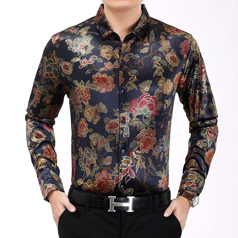 932224eeba Mens Paisley Shirts Vintage Palace Flowers Printed Shirts Male Slim ...