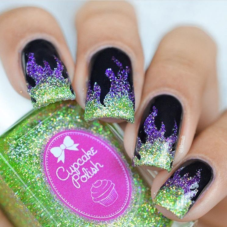 Sparkly black, purple & green Maleficent Fire nails by the ...