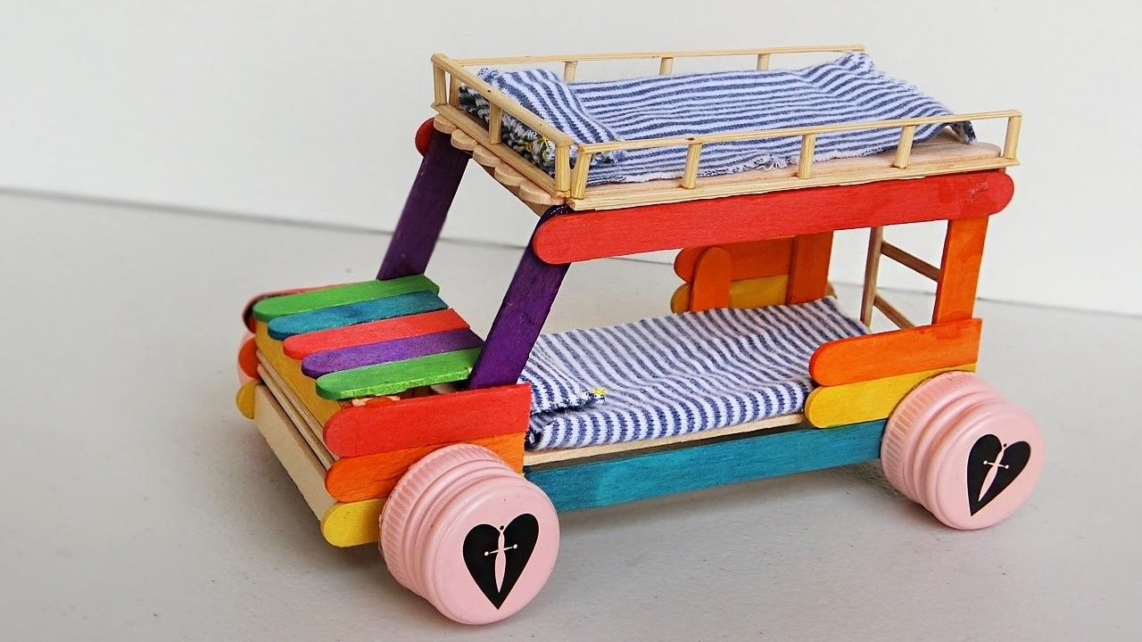 Photo of Popsicle stick Crafts – Bunk Bed Car #3