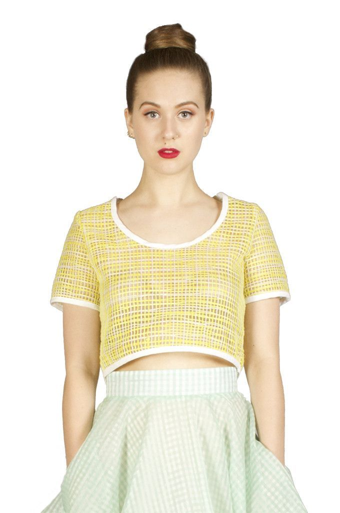 Yellow and White Net Crop Top