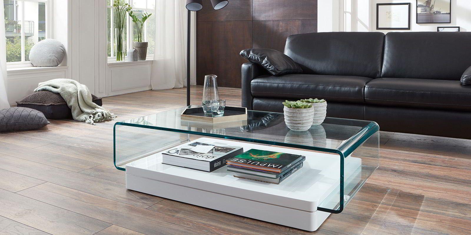 Designer Couchtisch Jura Glastisch Klarglas - Comfort16Home