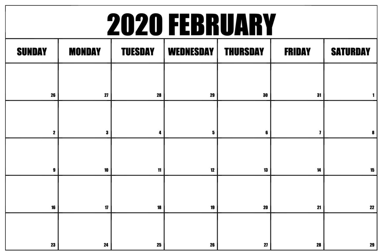 Blank February 2020 Calendar Pdf Monthly Weekly Planner In 2020