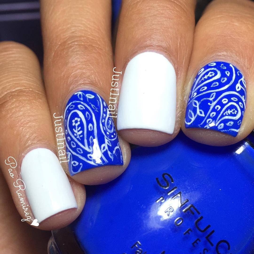 Nails Quenalbertini Instagram Photo By Just1nail Bandana Nails Nails Blue Nail Designs