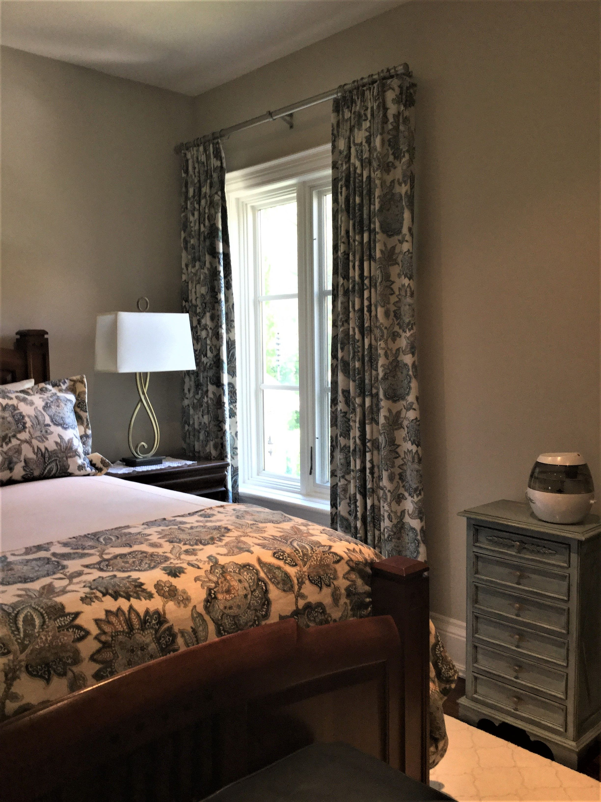 Euro Pleat Drapes With Coordinating Bedding In The Country Home