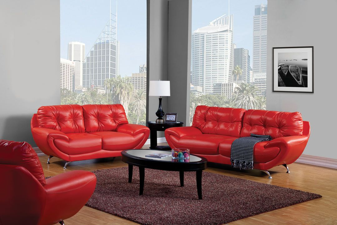 A.M.B. Furniture & Design :: Living room furniture :: Sofas and Sets :: Sofa Sets :: 3 Pc. Volos Modern Style Bowl Shape Red Leatherette Button Tufted Sofa Set