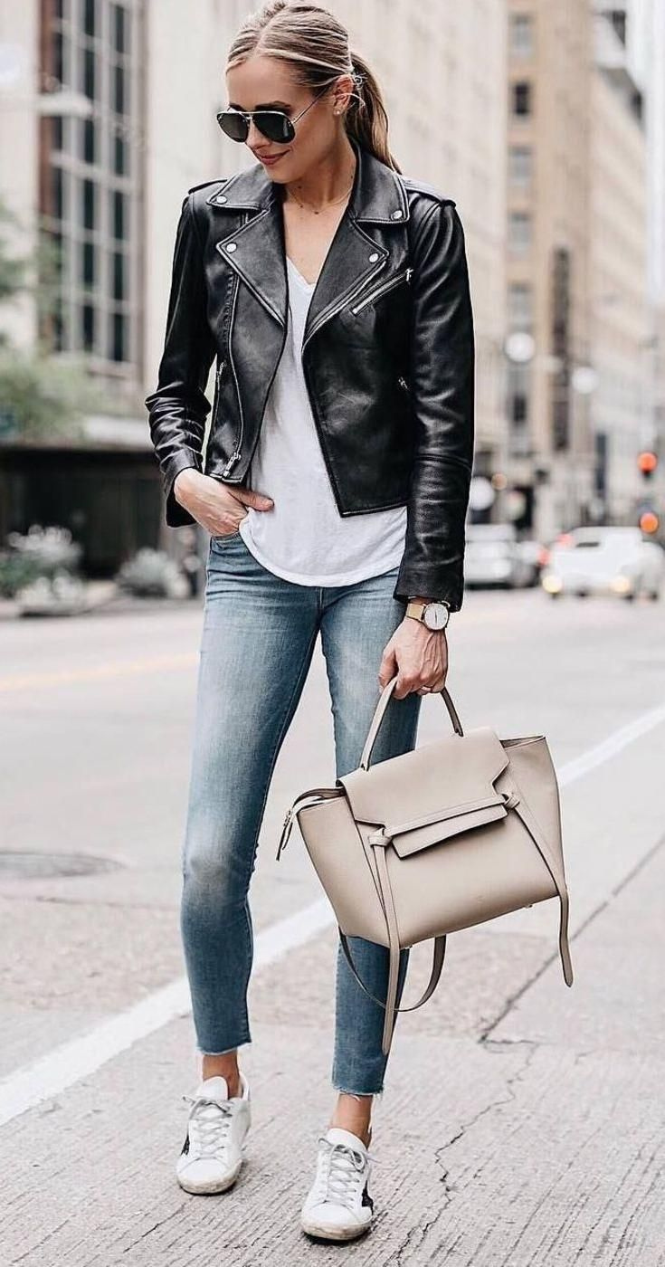 Black Faux Leather Jacket Casual Fall Outfit With Skinny