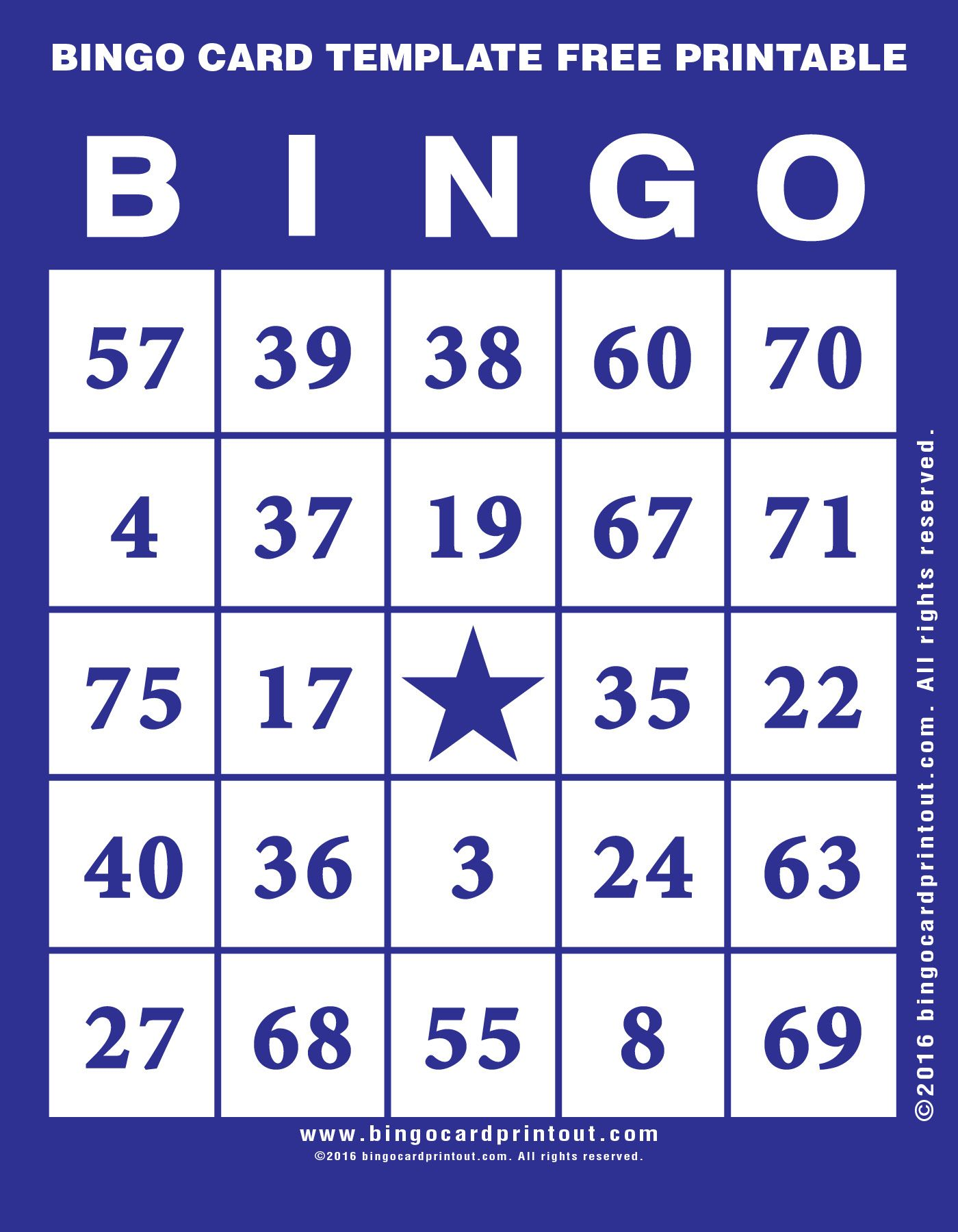 Bingo Card Template Free Printable 6 | bingo | Pinterest