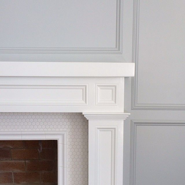 Fireplace tile detail // penny tile