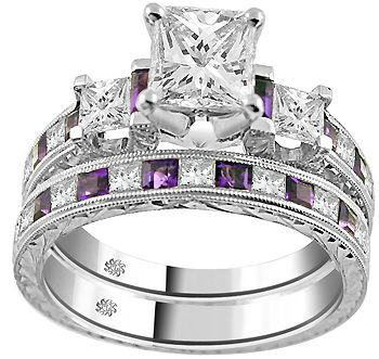 Incroyable I Like The Wedding Band! 276 Carat Corina Amethyst Diamond Engagement Ring  Wedding Band Set Amethyst Wedding Rings Collection With Purple 3