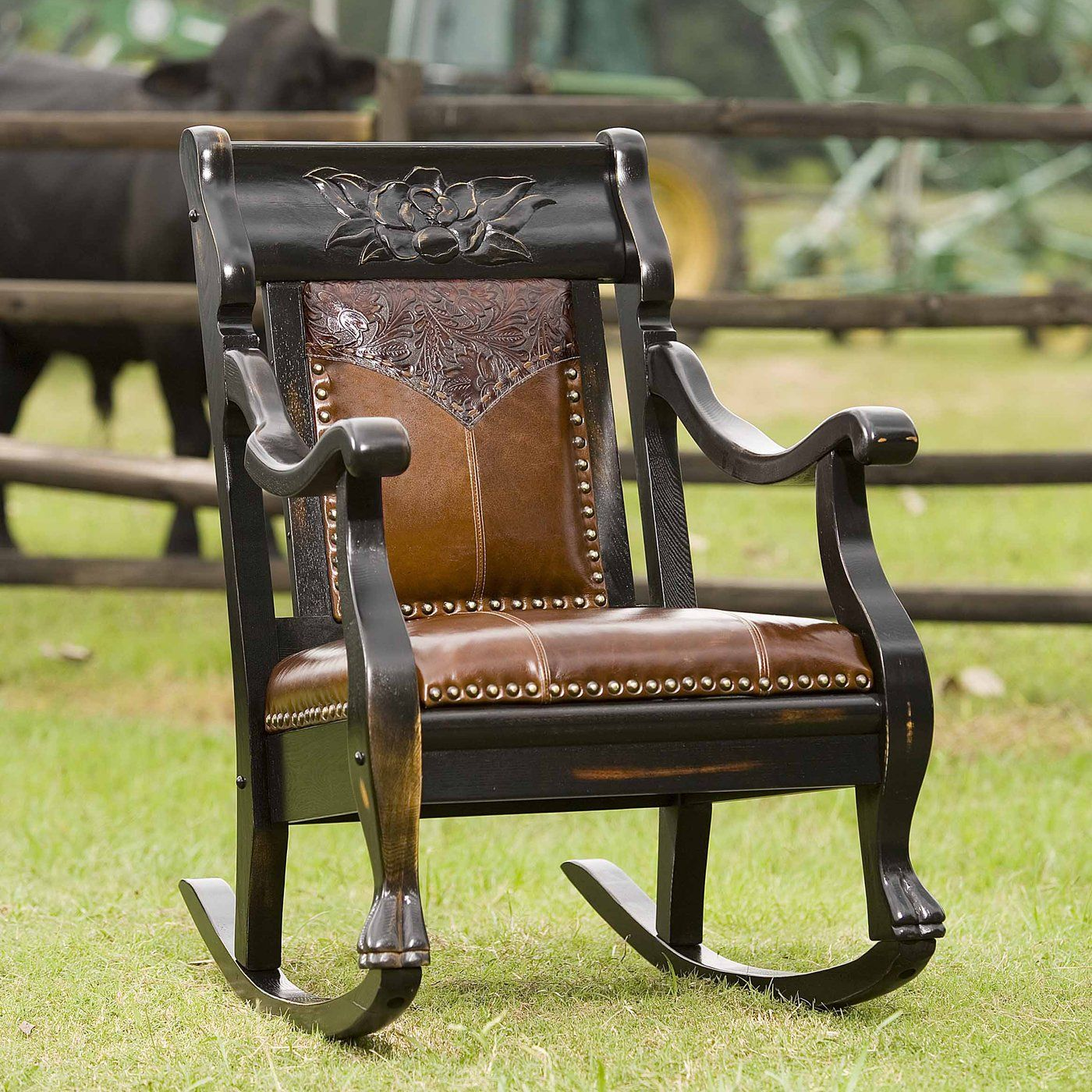 Charmant Country Road Furniture 2002RM EA Magnolia Rocker Rocking Chair, Ebony Amber