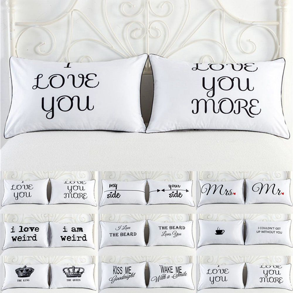 2PCS//Set Couples Pillow Case Letters Printed Pillowcases Bedding Cushion Covers