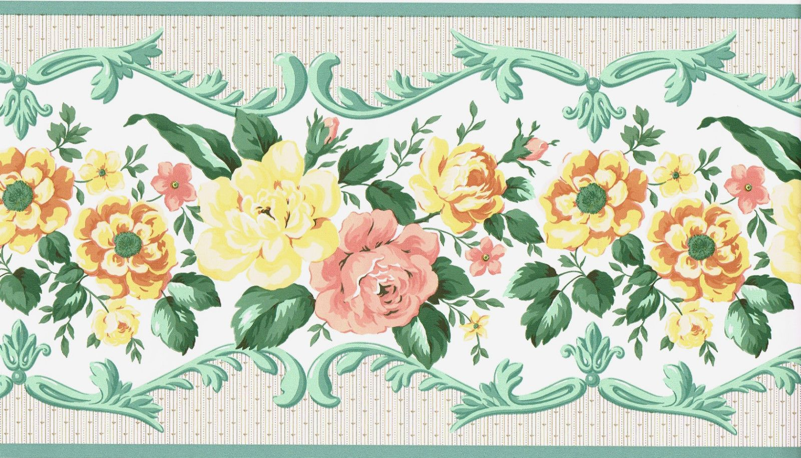 Victorian Green Scroll Leaf Yellow Rose Flower Floral