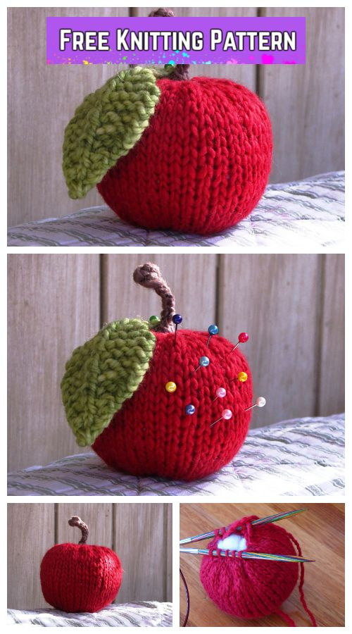 Knit Apple Plushie Free Knitting Pattern Knitting Pinterest