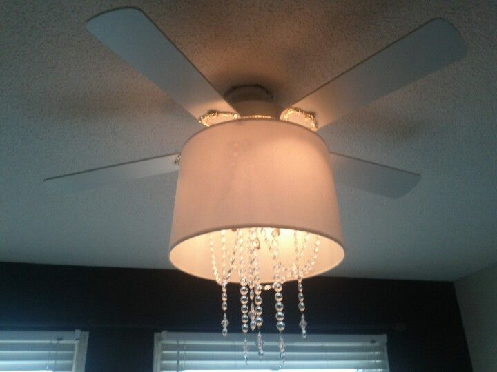 Update An Old Ugly Ceiling Fan By Attaching A Plain Old Shade With - Chandelier crystals michaels
