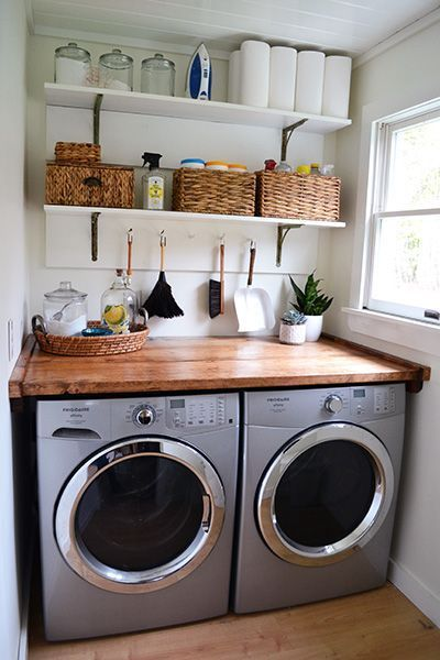 Laundry Room Idea laundry room makeover. wood counters, walmart tin totes, pull out