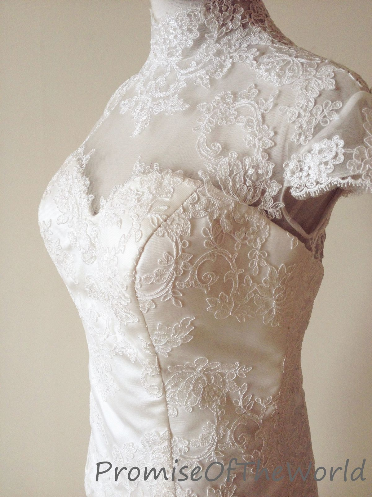 High neck cap sleeve short wedding dress tea length wedding