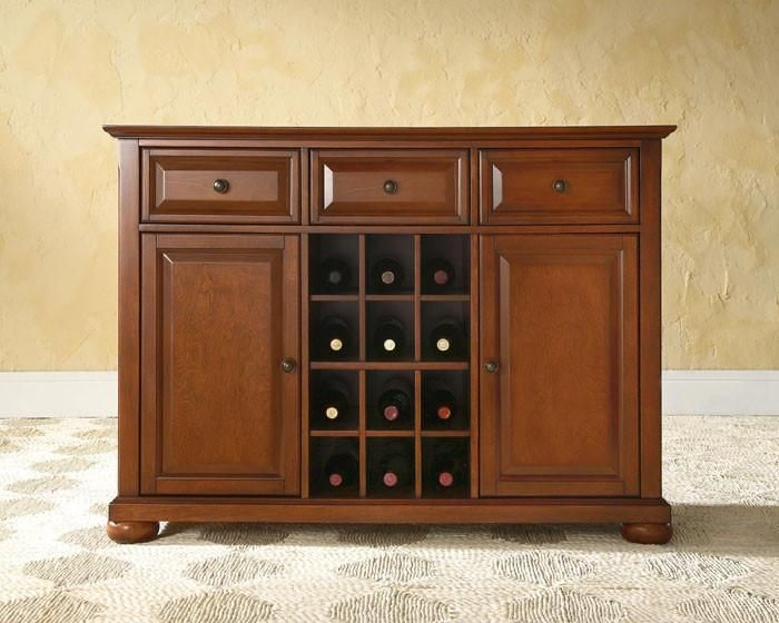 Bayden Hill Kf42001ach Alexandria Buffet Server / Sideboard Cabinet With Wine Storage In Classic Cherry Finish images