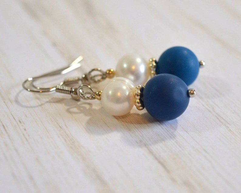 Necklace and earrings made with fresh water pearls dyed blue
