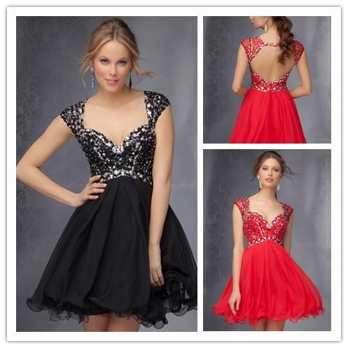 Ornate Solid color black and red cap sleeve with crystal women summer dress 2014 Sexy shorts mini Homecoming Dresses HM-037 $119.99