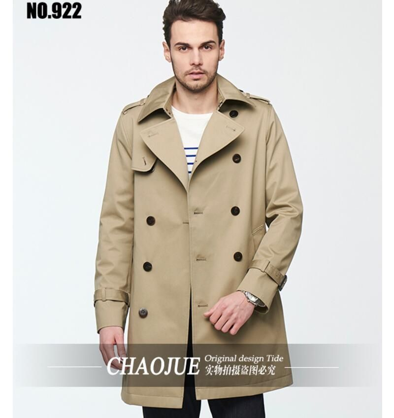 461cdd92ab5 European and American Men s Leisure Lapel Trench Coat New Spring Autumn  Men s Slim Outwear Men Clothing