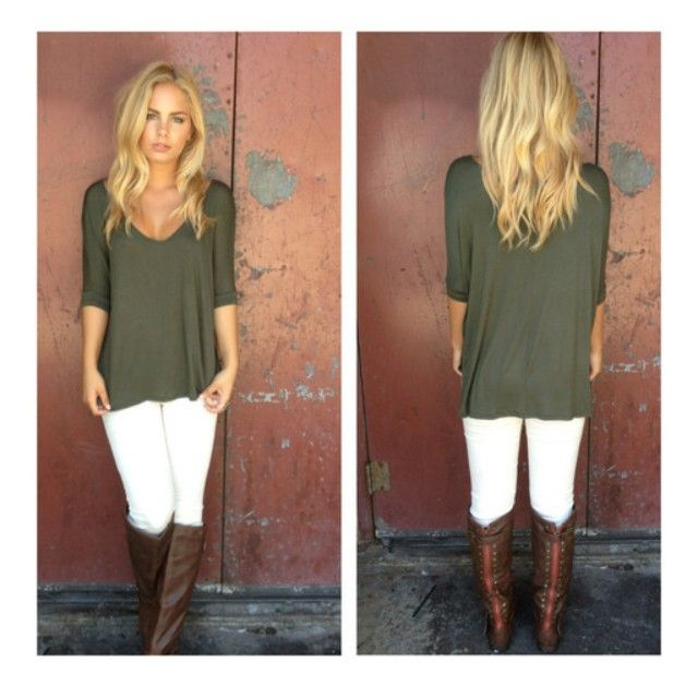 White Jeans, Brown Boots, Olive Green Top Love The Top And