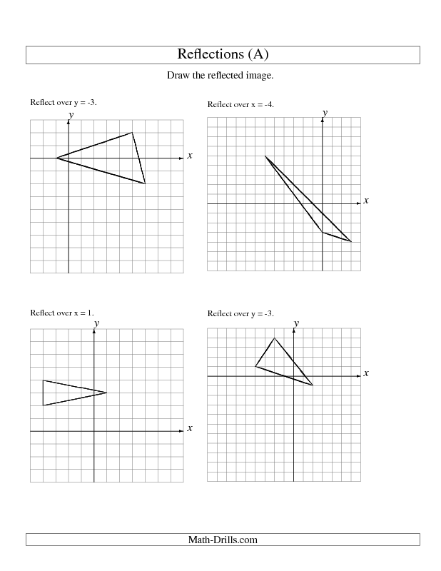 Reflection Of 3 Vertices Over Various Lines Worksheet With Answers